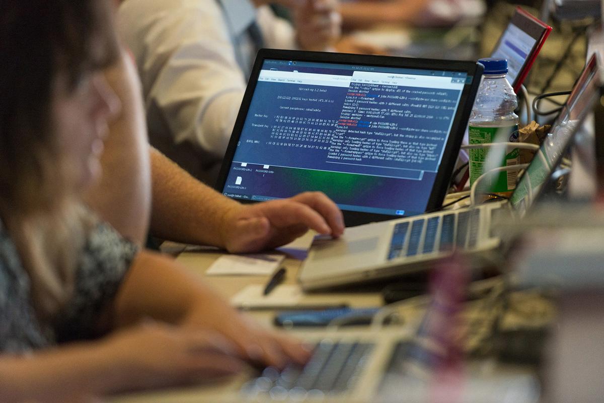 students hands at computer